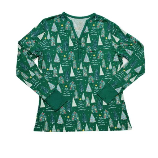 Little Sleepies Green Twinkling Trees Women's Long-Sleeve Bamboo Viscose Pajama Top