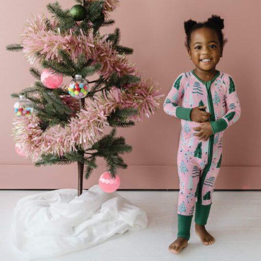 Little Sleepies Pink Twinkling Trees Bamboo Viscose Zippy