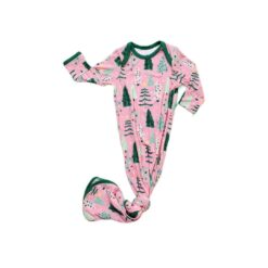 Little Sleepies Pink Twinkling Trees Bamboo Viscose Infant Knotted Gown