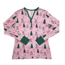 Little Sleepies Pink Twinkling Trees Women's Long-Sleeve Bamboo Viscose Top