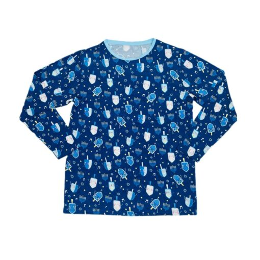 Little Sleepies Dancing Dreidels Men's Long-Sleeve Bamboo Viscose Pajama Top