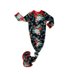 Little Sleepies Poinsettia Floral Bamboo Viscose Infant Knotted Gown