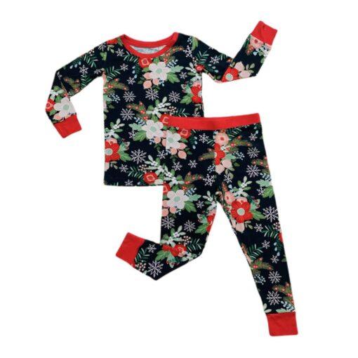 Little Sleepies Poinsettia Floral Two-Piece Bamboo Viscose Pajama Set