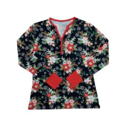Little Sleepies Poinsettia Floral Women's Long-Sleeve Bamboo Viscose Pajama Top