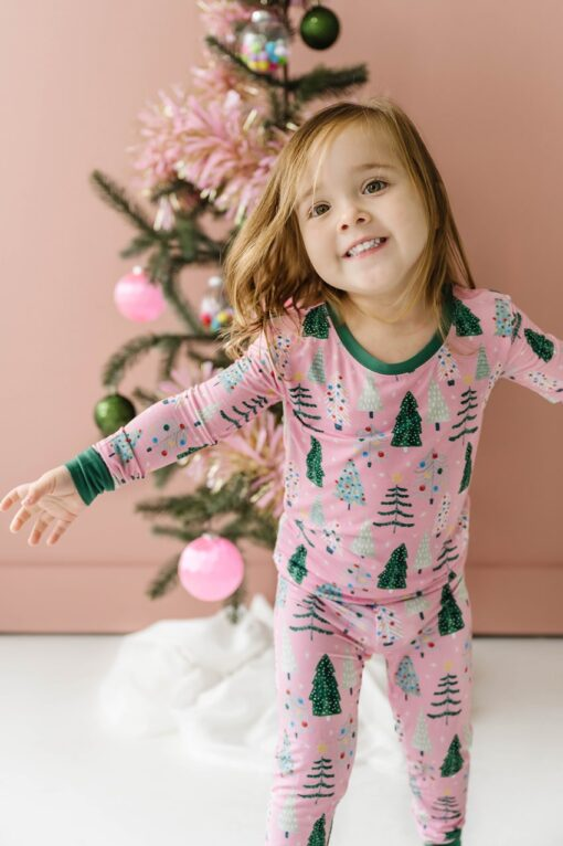 Little Sleepies Pink Twinkling Trees Pajama Set for Kids