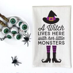 Love You a Latte Shop A Witch Lives Here With Her Little Monsters Kitchen Towel
