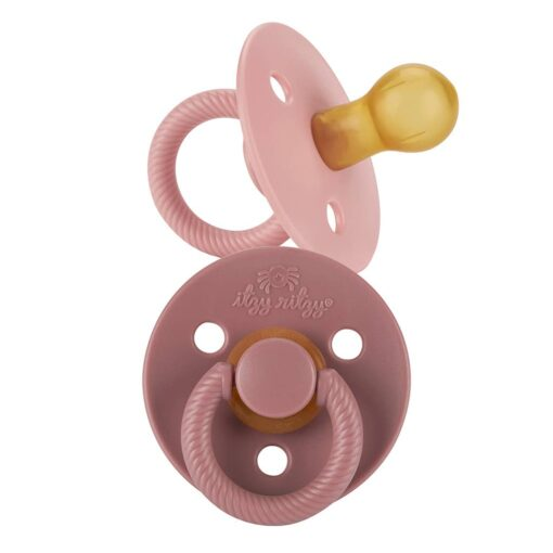 Itzy Ritzy Itzy Soother Natural Rubber Pacifier Set in Blossom + Rosewood Pink