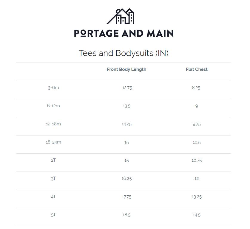 Portage and Main T-Shirt Size Chart