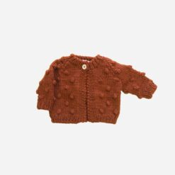 The Blueberry Hill Popcorn Hand Knit Cardigan in Cinnamon