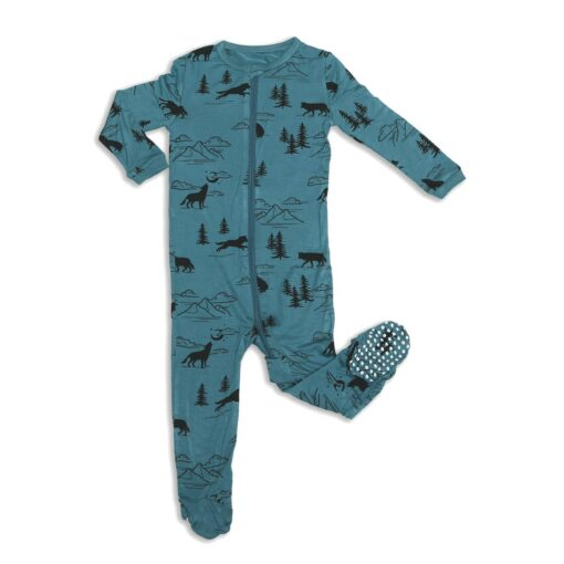 Silkberry Baby Call of the Wild Wolf Printed Bamboo Zippered Footie