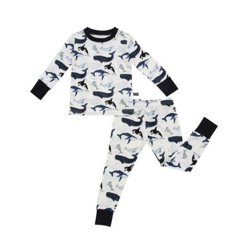 Peregrine Kidswear Watercolor Whales Bamboo Two-Piece Pajama Set