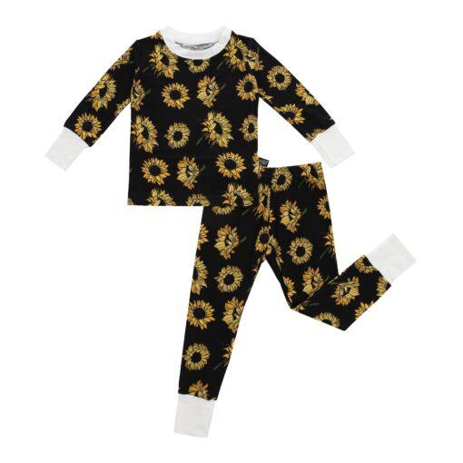 Peregrine Kidswear Sunflowers on Black Bamboo Two-Piece Pajama Set