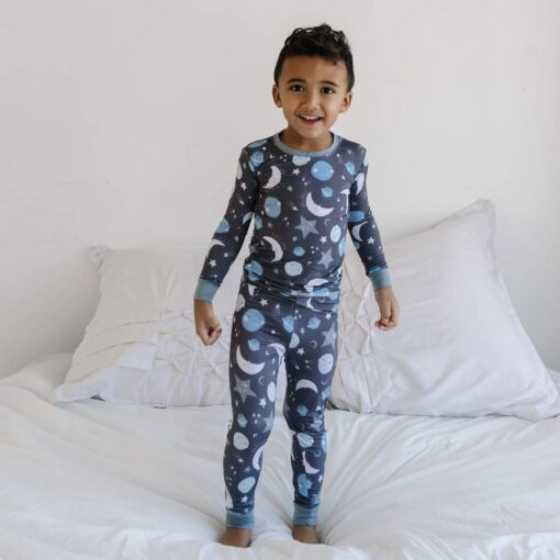 Little Sleepies To the Moon & Back Blue Two-Piece Bamboo Viscose Pajama Set