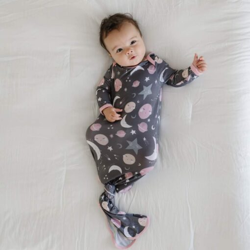 Little Sleepies To the Moon & Back Blue Bamboo Viscose Infant Knotted Gown