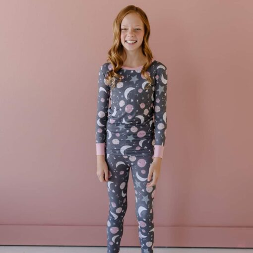 Little Sleepies To the Moon & Back Pink Two-Piece Bamboo Viscose Pajama Set