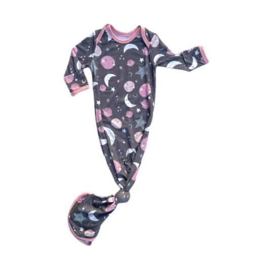 Little Sleepies To the Moon & Back Pink Bamboo Viscose Infant Knotted Gown