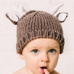 The Blueberry Hill Hartley Deer Hand Knit Hat in Tan