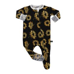 Peregrine Kidswear Sunflowers on Black Bamboo Footie