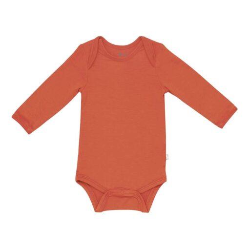 Kyte BABY Long Sleeve Bodysuit in Clementine