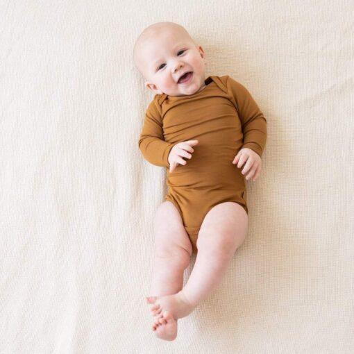 Kyte BABY Long Sleeve Bodysuit in Nutmeg