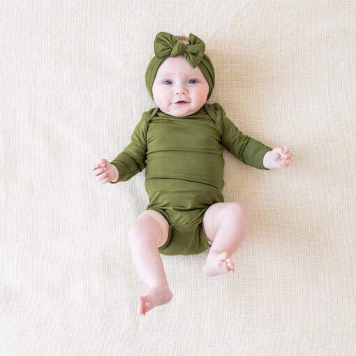 Kyte BABY Long Sleeve Bodysuit in Olive