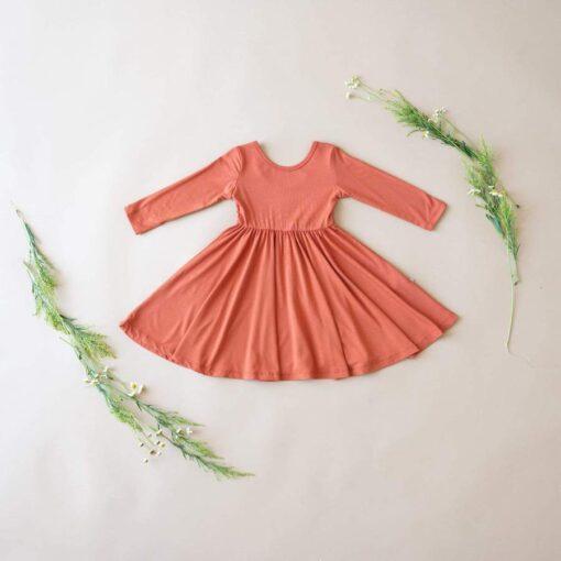 Kyte BABY Long Sleeve Twirl Dress in Clementine