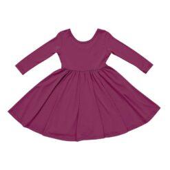 Kyte BABY Long Sleeve Twirl Dress in Dahlia