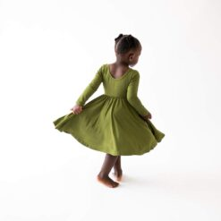 Kyte BABY Long Sleeve Twirl Dress in Olive