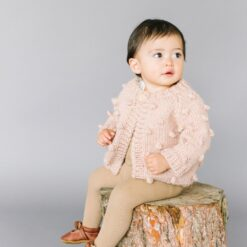 The Blueberry Hill Popcorn Hand Knit Cardigan in Blush Pink