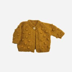 The Blueberry Hill Popcorn Hand Knit Cardigan in Mustard